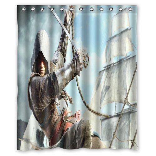 Impermeabile Tenda doccia in poliestere 60pollici da 72pollici, Edward kenway-assassins Creed iv-black Bandiera
