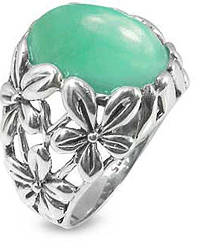 Sterling Silver Ring with Oval Chrysoprase Stone Size 12