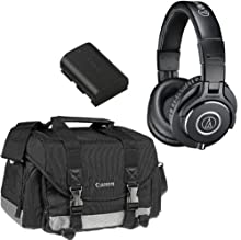 Canon Deluxe Accessory Kit - 200DG Gadget Bag + LP-E6 Battery + Audio-Technica ATH-M40x Professional Headphones