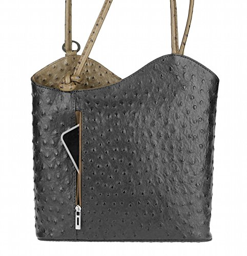 OBC Only-Beautiful-Couture, Borsa a zainetto donna nero Schwarz-Taupe (Strauß) 27x29x8 cm (BxHxT)
