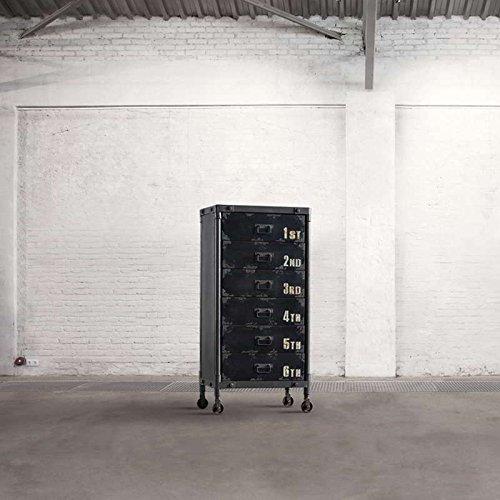 Dialma Brown - Cassettiera A 6 Cassetti Realizzata In Metallo Con Finitura Anticata, Dotata Di 4 Ruote