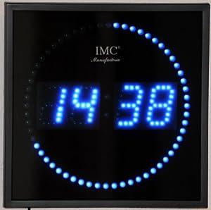 Horloge murale led avec trotteuse ronde et chiffres bleus cuisine maison for Pendule digitale led