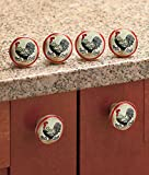 Set of 6 Rooster Drawer Pulls or Can Be Used As Rooster Cabinet Knobs. Feature Country Rooster Decor, Perfect for Kitchen Drawers and As Cabinet Door Handles.