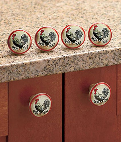 Set Of 6 Rooster Drawer Pulls Or Can Be Used As Rooster Cabinet Knobs.  Feature