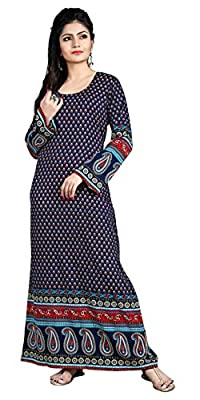 Women's Trendy Printed Round Neck Kaftans Abayas Multiple Colors & Designs