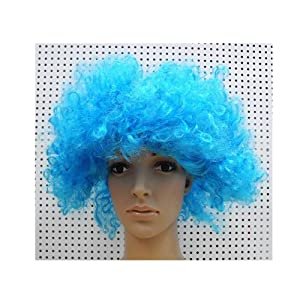 ChineOn Afro Curly Wig Facial Hair for Football Fans Theme Party Halloween Clown Costume(Blue)