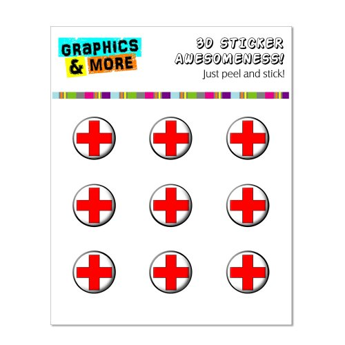 Graphics and More Red Cross Home Button Stickers Fits Apple iPhone 4/4S/5/5C/5S, iPad, iPod Touch - Non-Retail Packaging - Clear - 1