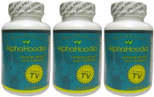 Alpha Hoodia: Best Diet Pill with Green Tea, Bitter Orange, Guarana, & More For Weight Loss - Fat Burner & Weight Control - 3 Bottles (90 Capsules)