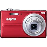 "Sanyo 14MP Digital Camera w/ 5x Optical Zoom, 3"" LCD Display - RED Color"