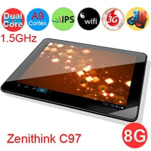 "Zenithink C97 8GB Amlogic 8726-MX 1.5GHz Dual Core DDR3 1GB Android 4.0 9.7"" IPS Ten-Point Touch WIFI Dual Camera HDMI MID Tablet PC - Black by Prosperous"
