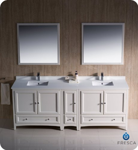 "Oxford 84"" Traditional Double Sink Bathroom Vanity Set front-974627"