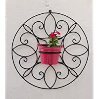 Green Gardenia Iron Spanish Round Wall Bracket Small With Metal Bucket-Pink