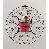 Green Gardenia Iron Spanish Round Wall Bracket Small With Metal Bucket-Pink