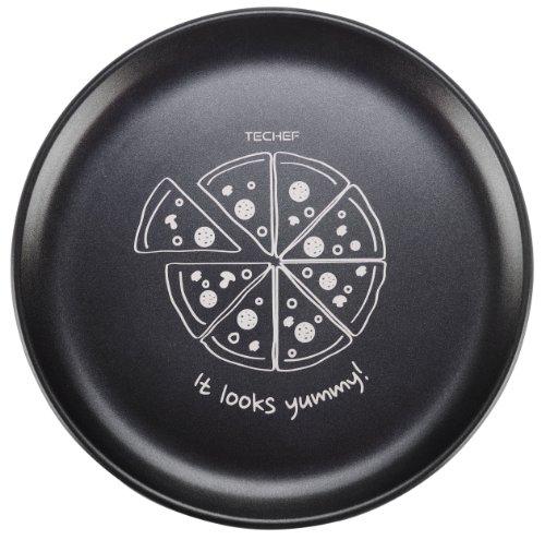 TeChef - 14-inch Pizza Pan with Teflon Select Non-Stick Coating (PFOA Free) / DuPont Print Designs Technology (Pizza - White)