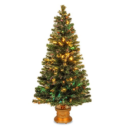 "National Tree Szex7-100R-60 Fiber Optic ""Evergreen"" Firework Tree With Gold Base, 60-Inch"