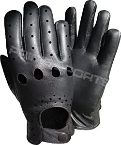 NEW TOP QUALITY REAL SOFT LEATHER BLACK DRIVING SLIM FIT RETRO GLOVE N-505 LARGE
