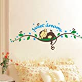 WallStickersDecal Sweet Dream Sleeping Monkey on tree vine wall decal sticker