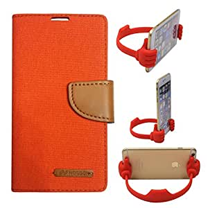 Aart Fancy Wallet Dairy Jeans Flip Case Cover for NokiaN540 (Orange) + Flexible Portable Mount Cradle Thumb OK Designed Stand Holder By Aart Store.