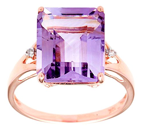 10k Rose Gold Emerald Cut Amethyst and Diamond Ring