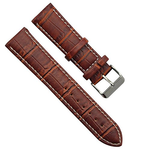 replacement-silver-buckle-genuine-calfskin-leather-watch-strap-watch-band-white-stitch-red-brown-22m