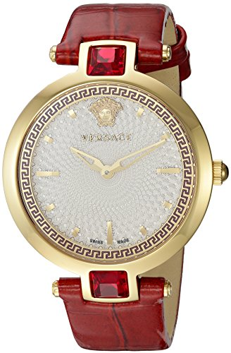 Versace-Womens-Crystal-Gleam-Swiss-Quartz-Stainless-Steel-and-Leather-Casual-Watch-ColorRed-Model-VAN040016