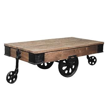 Industrial Wood Cart Coffee Table w/ Wheels