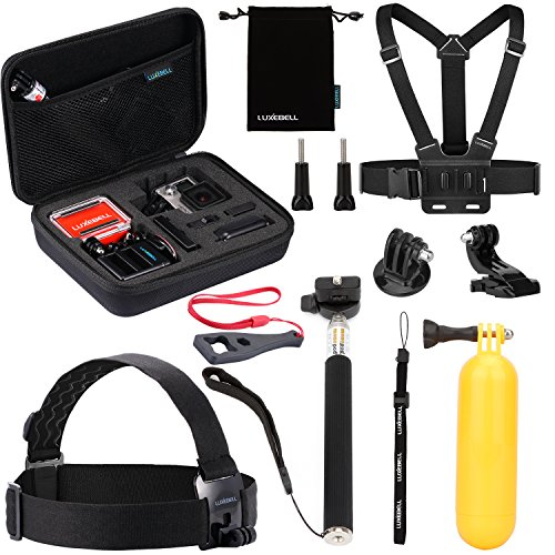 Luxebell 10 in 1 Value Pack Accessories Kit for Gopro Hd Hero 4 Session, Hero3+, Hero3, Hero2 & Hero+ Lcd, Head Strap + Chest Mount Harness + Handheld Monopod + Medium Case