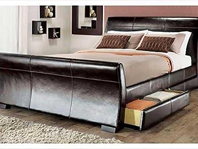 Modern Italian Designer Bed Kingsize Upholstered in Faux Leather, 5ft Madrid Brown