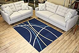 Modela Collection Stripes Abstract Contemporary Modern Area Rug Rugs (Navy Blue, 4\'9\