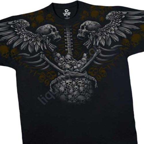 Winged Skulls And Skull Guitar T Shirt Death Metal Liquid