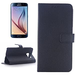Litchi Texture Leather Case with Holder & Card Slots for Samsung Galaxy S6 / G920(Black)