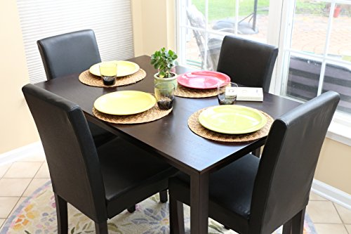 pc black leather 4 person table and chairs brown dining dinette