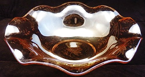 Vintage Jeanette Glass Louisa Pattern Floragold Marigold Iridescent Carnival Glass Bowl 9.5
