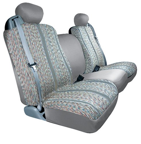 Saddleman Custom Made Front Bucket Seat Covers - Saddle Blanket Fabric (Gray) front-73310