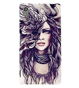 Girl Sketch 3D Hard Polycarbonate Designer Back Case Cover for Sony Xperia Z5 Premium (5.5 Inches) :: Sony Xperia Z5 Premium Dual