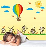UberLyfe Fun Loving Monkeys Wall Sticker (Wall Covering Area: 89cm x 138cm)