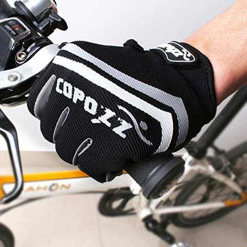 COPOZZ Man Woman Touchscreen Gel Silicone Pad Full Finger Gloves for Outdoor Cycling Motorcycle Skate Skateboard Roller Skating Mountain Rock Climbing (Gray, XL)