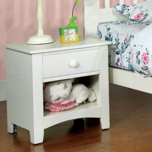 Furniture Of America Furniture Of America Linear 1 Drawer Nightstand, White front-653161