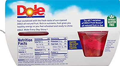 Dole Fruit Bowls, Peaches in Strawberry Gel, 4.3 oz, 4 cups