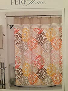 Peri Home Bayberry Cotton Fabric Shower Curtain Orange Yellow Brown Peach Floral