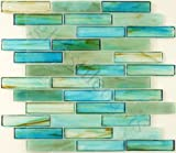 "Glass Tile Oasis - 17738, Caribbean 1"" x 4"" Green Bathroom Glossy Glass, Tiles, Glass, Tropical Series, Large Brick"