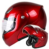 Metallic Wine Red Modular Flip up Motorcycle Helmet DOT #936 (Large)