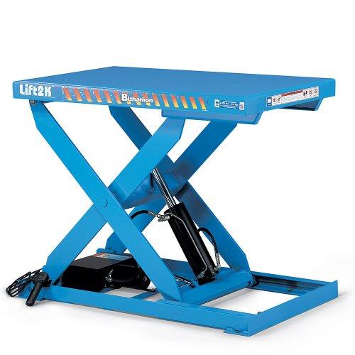 "Bishamon Optimus Hydraulic Scissor Lift Tables - 3000-Lb. Capacity - 28""Wx48""D Platform - Blue"