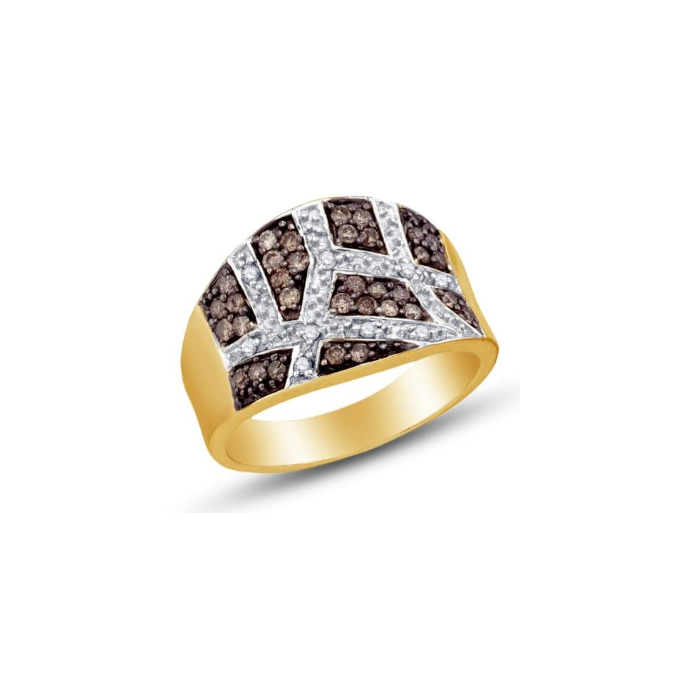 Size 4   10K Yellow and White Two 2 Tone Gold Prong Set Round Cut Chocolate Brown and White Diamond Ladies Womens Fashion, Wedding Ring OR Anniversary Band (1/2 cttw.)