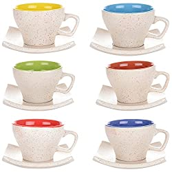 Somny Ceramic Cup and Saucer, 11 x 8 x 6.5 cm, Set of 12