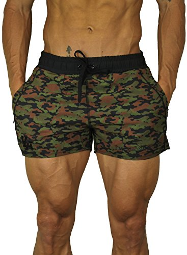 YoungLA Men's Bodybuilding Lift Shorts (Medium , Camo Green) Camouflage Shorts