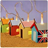 Party Lights - Hand made and Hand painted Beach Hut fairy lights - Batteryby Think Gadget