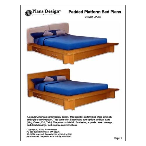 Padded Platform Twin, Full, Queen and King Bed Plans -Design #OPDD1