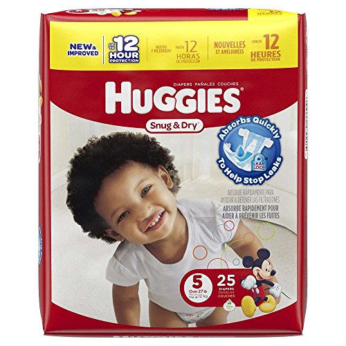 Huggies Baby Diapers, Snug & Dry, Size 5 (Over 27 lbs), 25 ct - 1