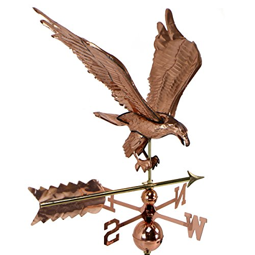 Cottage Eagle Weathervane Large Polished Copper With Roof